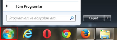 Windows 7 Başlat Menüsü